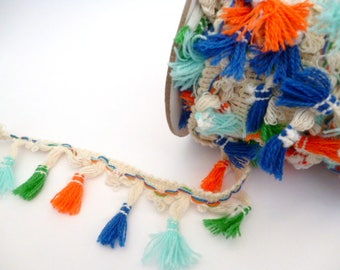 """Fabric colorful Boho trim _CP2235877865/512_Trim/ colorful tassels width of 45 mm / 1,77""""_ pack one meter/3,28 ft"""