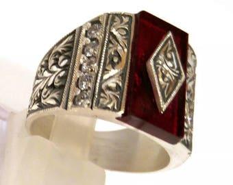 Hand made ottomane Turkish Arab Muslim style garnet stone 10 USA size