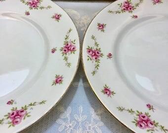 Set of Three Truly Scrumptious Pink Rose Vintage Royal Osborne Princess Plates