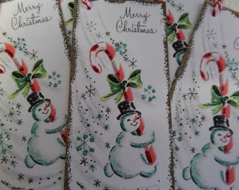 CHRISTMAS TAGS • Handmade Tags • Paper Tags •  Holiday Tags • Snowman Tags • Unique Gift Tags • String Tags • Tie Tag • The Whiskered Kitten
