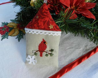 Finished Cross Stitch Christmas Ornament, Fabric Bird house, Christmas Cardinal