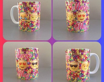 personalised mug cup emoji faces smiley winkey kissy smug sunglasses ios phone :)