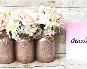 Set of 3 Hand Painted Spring Mason Jars, Wedding Centerpieces, Teacher Gifts, Spring Wedding, Rose Gold Mason Jars, Rustic!