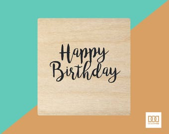 Happy Birthday Stacked - 3cm Rubber Stamp (DODRS0126)