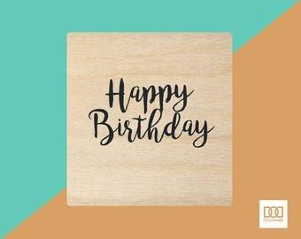 Happy Birthday Stacked - 3cm Rubber Stamp (DODRS0126)