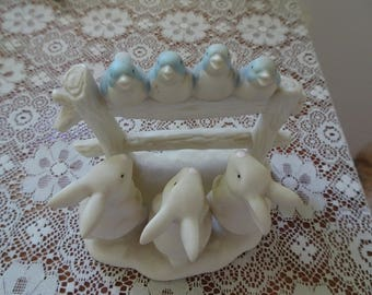 Department 56 Bluebirds on Fence and Bunnies Figurine 1996