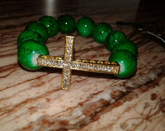 Women's Green and Gold Cross bracelet