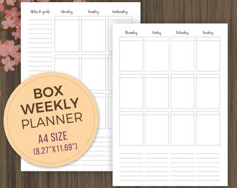 A4 Weekly Box Planner, Printable Inserts, A4, Planner Inserts, Vertical Planner, Week on 2 Pages, wo2p, pdf, Week on 2 Pages, Weekly Agenda