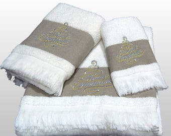 Top Quality White Xmas Bath Towels Set - Ref. Linen Christmas