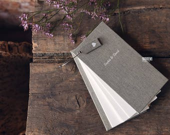 Guest book - vintage linen  - alternative guest book - personalized with letterpress - Gästebuch