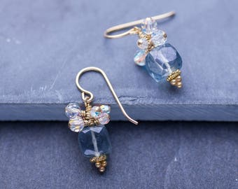 Gemstone Earrings, Short Drop Pastel Cube Earrings / Iridescent Swarovski Crystals, Quartz Cubes / 14k Gold Filled Ear Wires