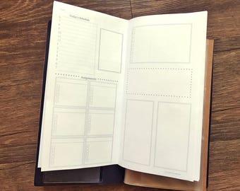 Travel Notebook Daily Planner Insert Student Basic[Printable-Digital]