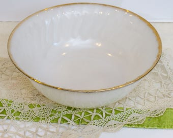 Vintage White Milk Glass Swirl Golden Anniversary Anchor Hocking Fire King Large Serving Bowl