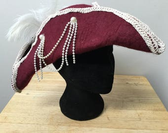 Chique tricorne pirate hat wet felted with ribbon flowerts, beads, trims and ostrich feathers burgundy and cream, for women cosplay or larp