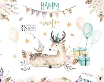 Watercolor nursery birthday clipart. Digital kids illustration. Boho nursery. cute animals: bohemian elephant, deer, raccon poster