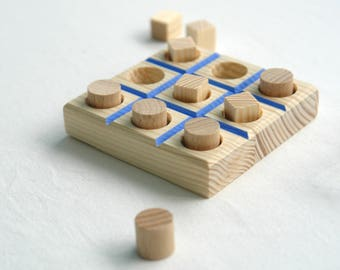Wood Tic Tac Toe, Classic Board Game, Handmade Wooden Game, Travel Board Game, Family Game