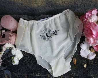 Transparent high waisted panties - embroidery moon stars