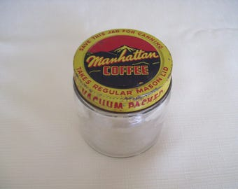 Manhattan Coffee Jar with Lid. Vintage
