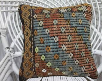 handmade pillows tapestry pillowswool pillow turkish cushions 16x16 bohemian throw pillows bohemian decor 16x16 turkish kilim pillows 3498