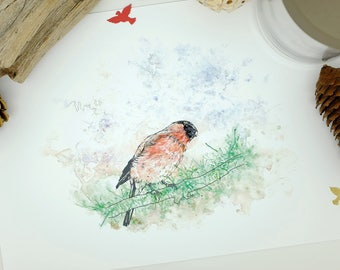 Bullfinch Print, Bird Print, Pink Wall Art, Watercolour Painting, Wildlife Prints, Nature, Feminine, Home Decor, New Home Gift