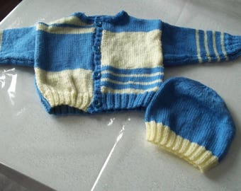 vest and hat - handmade knit baby 0/3 months-