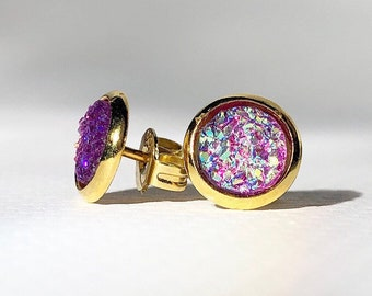 Iridescent Mini Studs - Purple and Gold