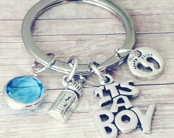 Keychain for Mom, New Mom Keychain, It's a Boy, Baby Boy Theme, Baby Boy, Coming Home, Mom to be Gift, Gift for New Mom, Newborn Boy