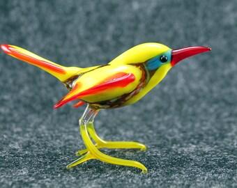 Glass  Jay Bird.Art Murano Glass Bird.Great Bird Gift.Glass Birds.Fused Glass.Bird Ornament.Lampwork Glass Bird.Glass Bird Decor(l20)