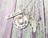 Horse Quote Memorial Necklace~ Equestrian Jewelry~ Always In My Heart~ Horseshoe Necklace~ Angel Wing Necklace~ Pet Loss~ In Memory Of