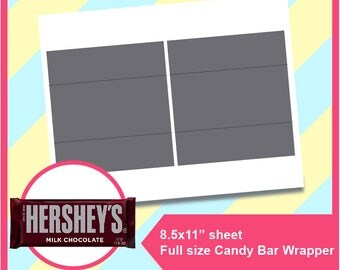 "Instant Download Hershey Candy Bar Wrapper Template, PSD, PNG and SVG Formats, 8.5x11"" sheet, Printable 004"