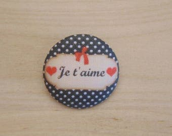 x 1 38mm fabric button I love you more A38