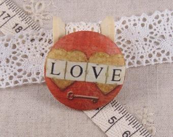 x 1 cabochon 22mm fabric love ref A12