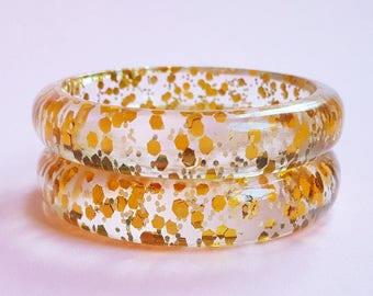 Grace Lucite confetti bracelet - Gold chunks