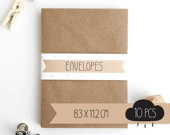 Envelope C7 / kraft brown / 8,3 x 11,2 cm / 10 pieces