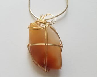 Wire Wrapped Carnelian Pendant