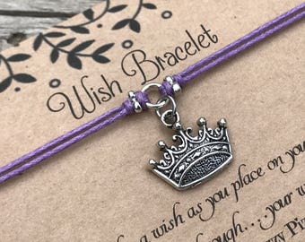 Crown Wish Bracelet, Make a Wish Bracelet, Wish Bracelet, Friendship Bracelet, Princess Bracelet, Crown Bracelet, Gift for Her, Favour Gift