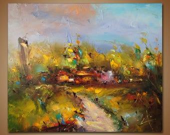 Landscape Oil Painting, Palette Knife, Modern Art, Canvas Painting, Abstract Landscape Painting, Original Artwork, Home Decor, Wall Art