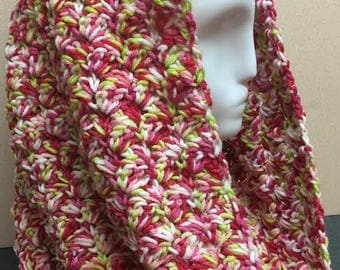 Pink Hooded Cowl, Pink Cowl Scarf, Pink Scarf, Pink and Yellow Cowl, Pink Cowl, Cowl Scarf, Crocheted Scarf, Gifts for Women, Circle Scarf