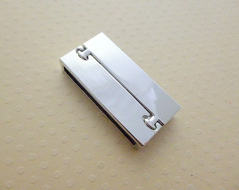 Magnetic Silver Clasp for cords to stick 38 x 18 mm - FA - 1079