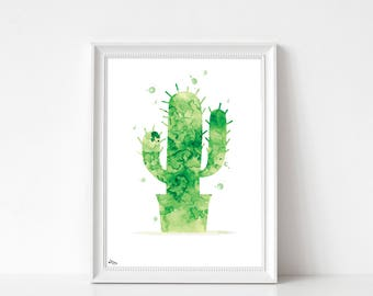 Post cactus, cactus, sleek modern watercolor print, birthday gift, nature art print