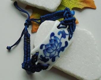 Porcelain, flowers, blue, bracelet, Mala, bracelet