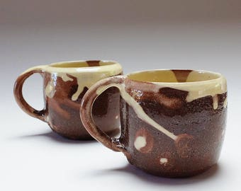 Handmade Coffee Mugs. Ceramic, pottery cream slip, coffee cups, coffee mugs, coffee