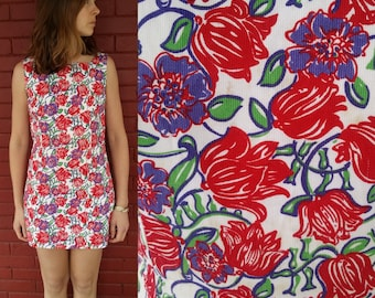 1980's Lilly Pulitzer Shift Dress / 80's Red and Purple Floral Dress / Vintage Shift Dress / Abstract Floral Dress / Floral Cotton Dress