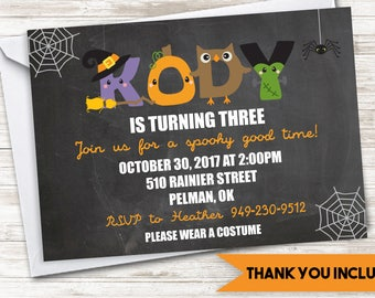 Halloween Birthday Invite Invitation Kids Digital ANY AGE Personalized October