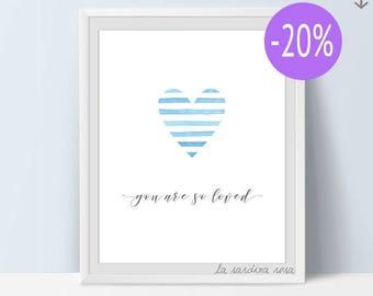 SALE Baby printable wall art, blue heart nursery decor, love wall art, you are so loved, striped heart #0054B