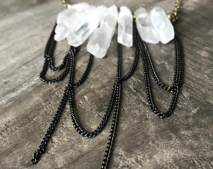 CLEARANCE SALE Crystal Quartz Statement Necklace