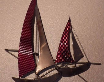 2 hand-painted steel sailboats Wall decoration  Original gift Boat series
