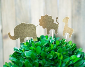 Gold Safari Cupcake Toppers | Baby Shower | Birthday Party