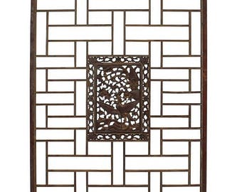 wholestoreSALE Chinese Distressed Vintage Brown Golden Phoenix Rectangular Panel Screen cs2954E