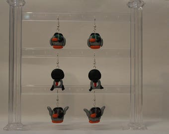 """Earrings= Penguins and """"Mutant Fro"""" -Polymer Clay-"""